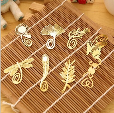 5pcs/lot Mini Cute Gold Metal Bookmark Paper Clip Antique Plated Butterfly Dragonfly Bookmarks Free shipping 5.5*3.5cm(China (Mainland))