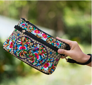 New Womens Embroidered shoulder&amp;handbag!Hot Womens lady Ethnic Flowers Embroidery Women Long Wallet Day Clutch carrybags<br><br>Aliexpress