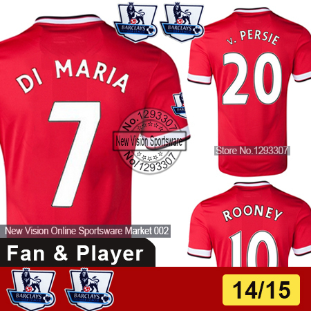 2014 15 Top Thai AAA+ Best Quality United Player & Fan Rooney Van Persie Di Maria Falcao Soccer Jersey Men Football Kit Uniform(China (Mainland))