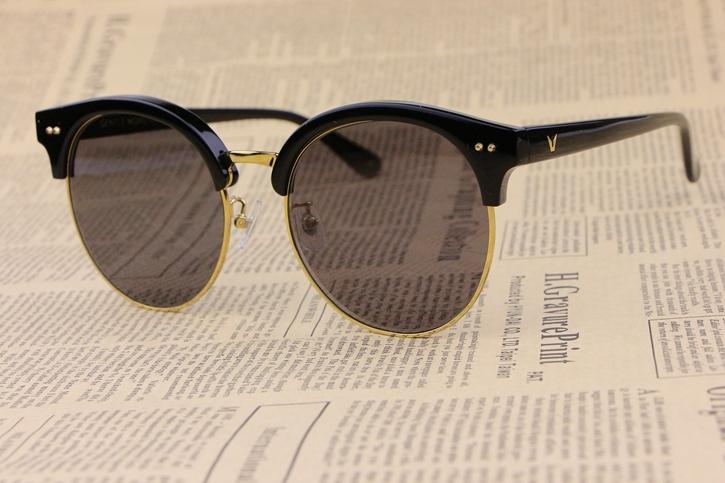 Round Plate Frame Unisex Sunglasses Moon Cut Semi-Rimless Black Elegant gentleman  fashion personalityОдежда и ак�е��уары<br><br><br>Aliexpress
