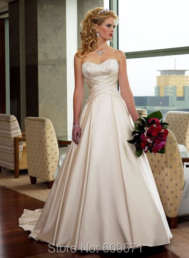 Free shipping in stock a line satin sweetheart wedding dress in