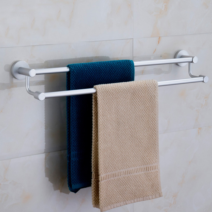 Double towel bars for bathrooms