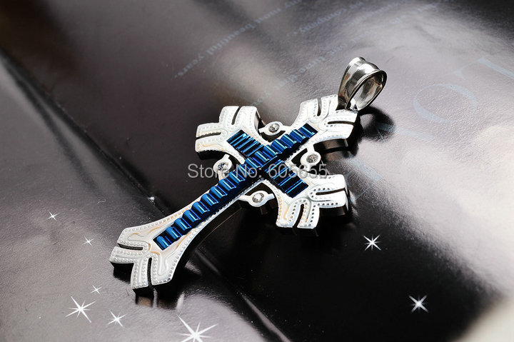 Royal Blue color apron wheel Crystal diamond beads paved Titanium Stainless Steel Cross Key Pendant(China (Mainland))