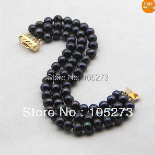 New Arriver Chirstmas Party Jewellery ! Natural AA 7-8MM 3Rows Black Color Genuine Freshwater Pearls Bracelet 7.5inch Free Ship<br><br>Aliexpress