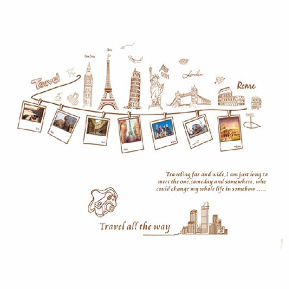 Euramerican Style Travel Around The World statue of liberty Eiffel Tower London bridge Design Removable Wall Stickers(China (Mainland))
