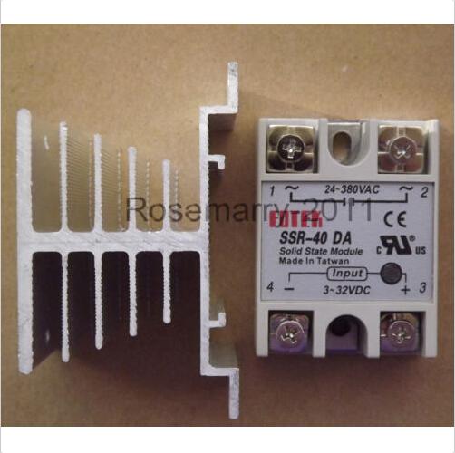 Solid State Relay SSR-40DA 40A /250V W I/O 3-32VDC/24-380VAC & Heat Sink - Kubaba's store