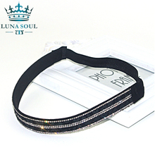 1 pc/lot 2016 LunaSouL New Style Elastic Crystal Rhinestone Leather Headband Hairband Hair Accessories For Women Girl HTD1610
