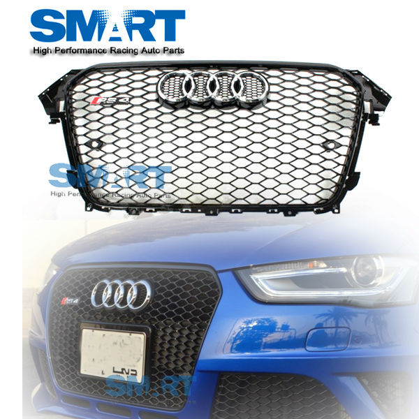 RS4 Front Euro Gloss Piano Black Mesh Grille For 2013up
