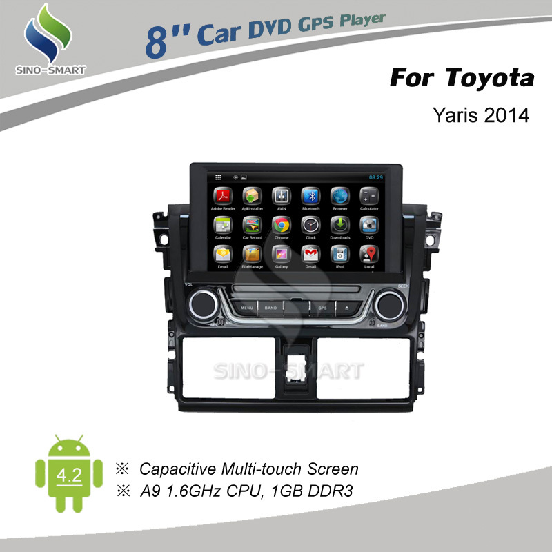 Latest Android 4.4 car GPS navigation for Toyota Yaris 2014 4 core 1.6GHz CPU HD screen 1024*600 optional ,supports OBD tool(Hong Kong)