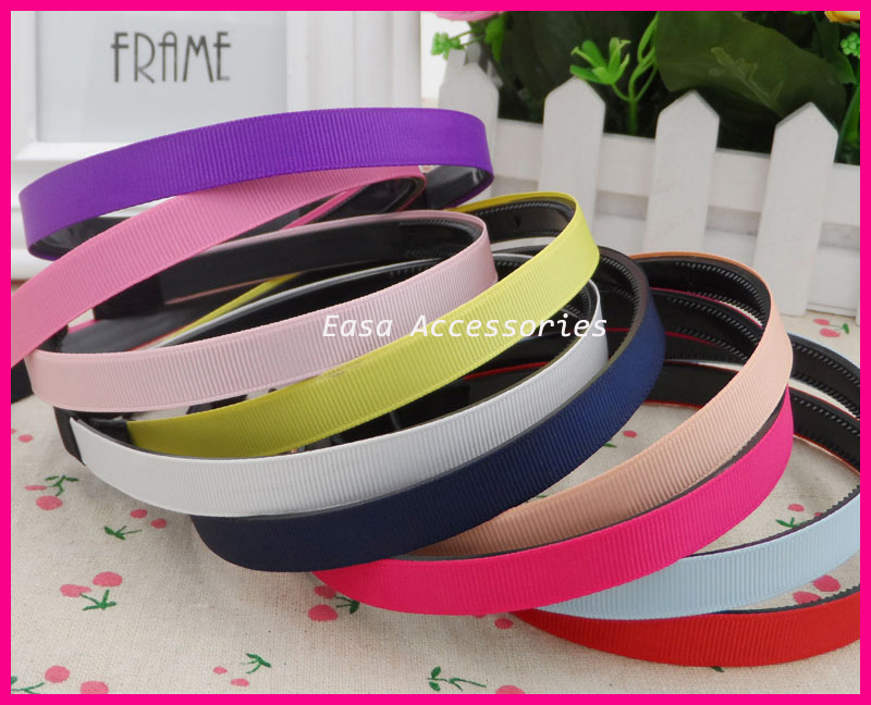 20PCS 12mm Assorted Colors Grosgrain Ribbon Lined Black Plain Plastic Hair Headbands with teeth at eco-friendly wholesale(China (Mainland))
