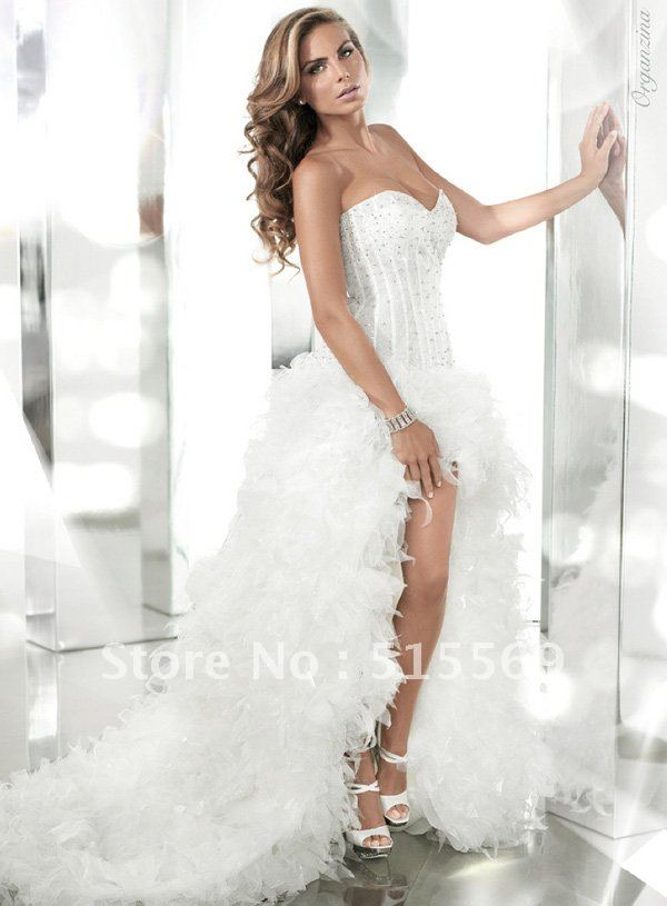 Guranteed high quality front short long back cathedral for Sexy wedding dress designers