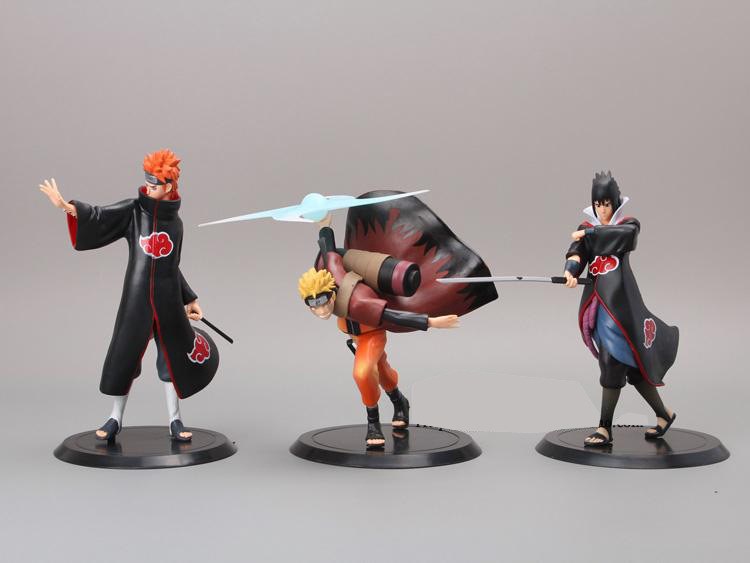 2015 New 3pcs set Generation 10 Uzumaki Naruto Pain Uchiha Sasuke PVC Action font b Figures
