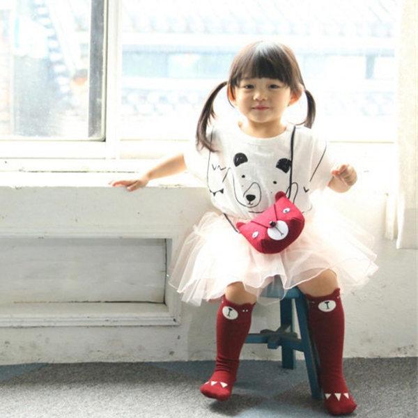 1 пара/лот прекрасный 3d лиса енот ребенок гетры носки для детей мальчиков девочки дети non-slip хлопок животных meias calentadores