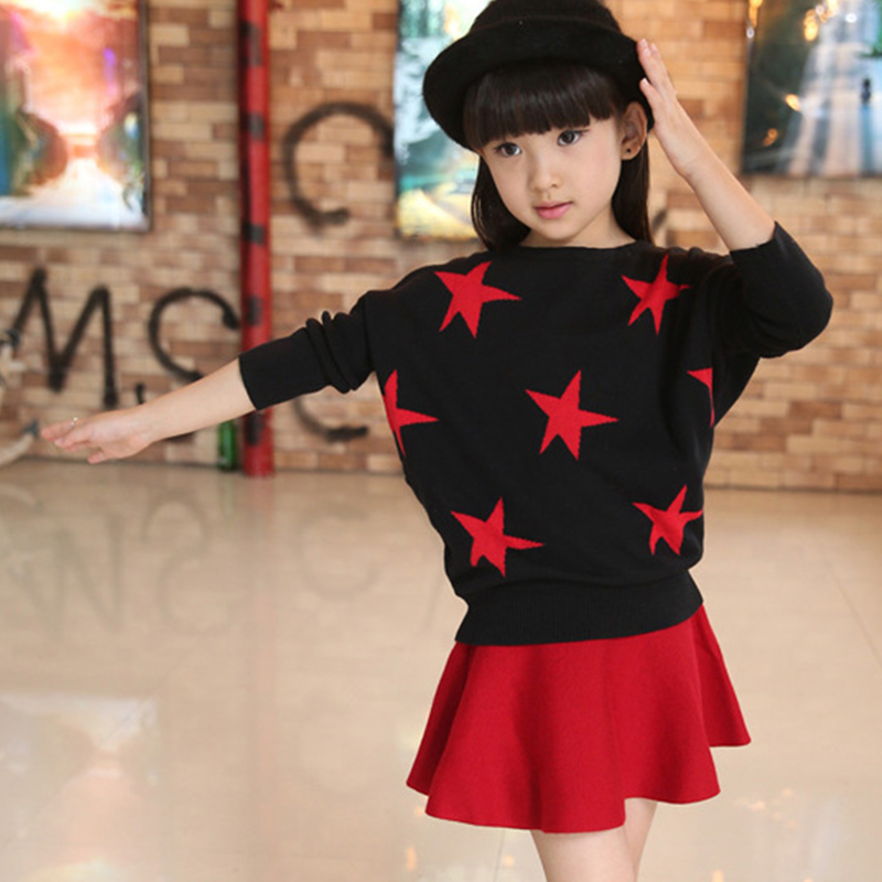 mothers and girls clothing sets knitting black sweater with red skirts spring autumn winter knit kids clothes suits for girls