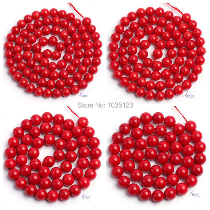 """Free Shipping 3.5.6.8.9mm Smooth Round Shape Red Coral Stone Gems Loose Beads Strand 15"""" DIY Jewellery Making wj81(China (Mainland))"""