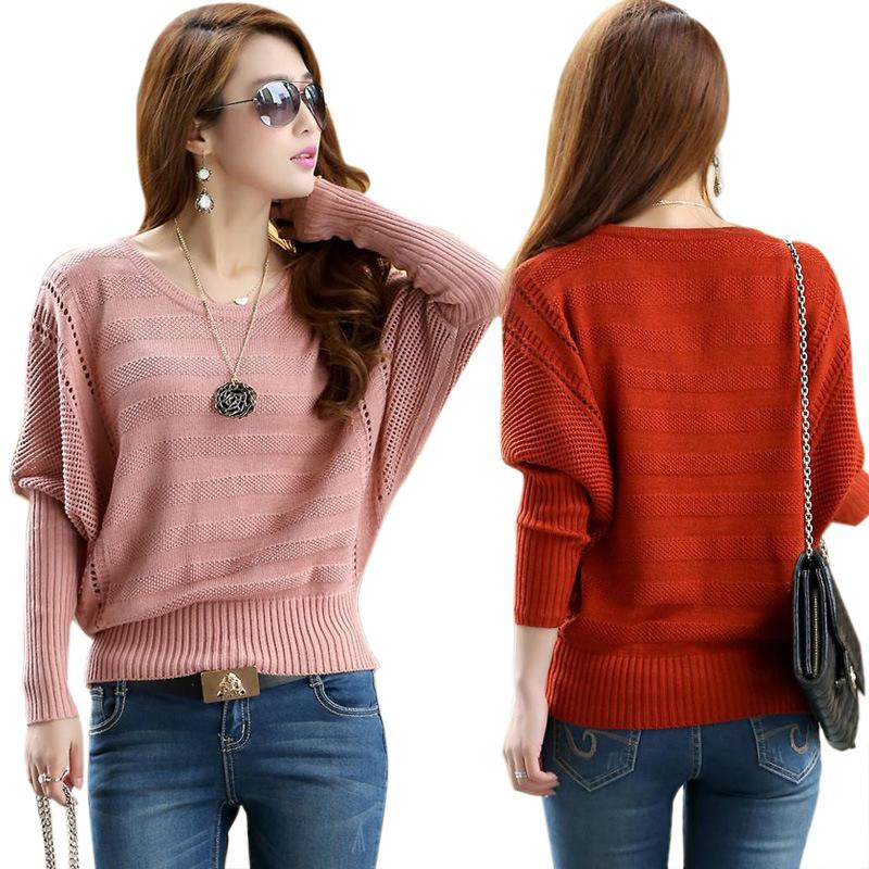 Brand fashion Celebrity style Women Solid Hollow Bat Loose Outerwear Round Neck Long-Sleeved Pullover Sweater plus size QA559