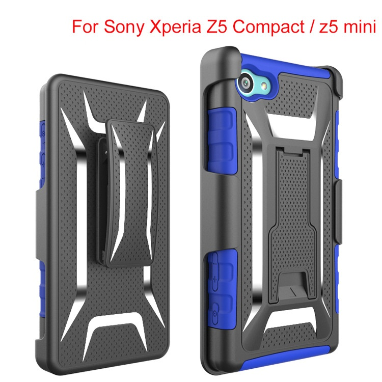 500pcs/lot Heavy Duty Rugged Armor Belt Clip Defender Holster Case For Sony Xperia Z5 Compact/ Mini Cover Skin With Kickstand