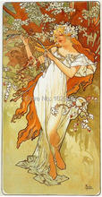 High quality,Spring, 1896,Alphonse Mucha oil painting canvas,Hand-painted,Portrait Modern Art Reproduction,