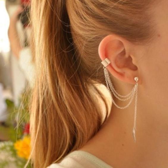 Brand New Women 2pcs Stylish Punk Rock Leaf Chain Tassel Dangle Ear Cuff Wrap Earring plated silver golden earrings(China (Mainland))