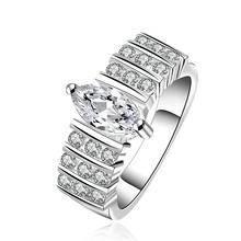 Стерлингового серебра ювелирные изделия капли воды с большой кристалл камень обручальные кольца для женщин Палец Кольцо Посеребренные и Штампованные анель 925(Hong Kong)
