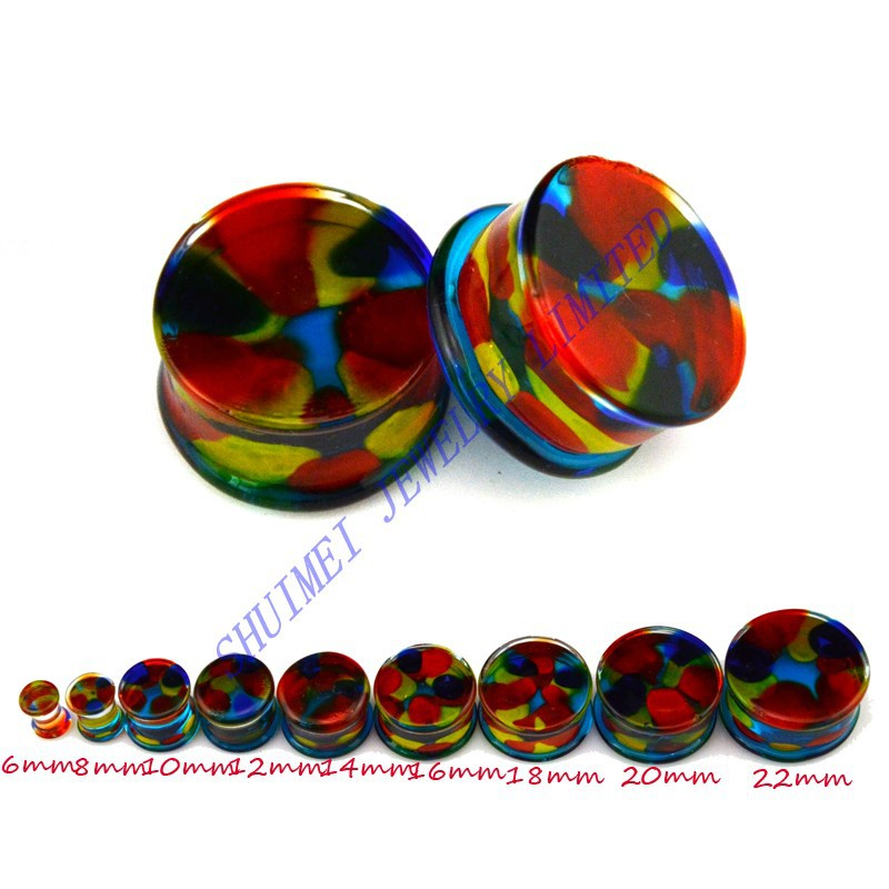SHUIMEI 200Pcs Pyrex Glass Rainbow Double Flared Ear Saddle Plug Expander Tunnel  Piercing Body Jewelry 6mm-25mm