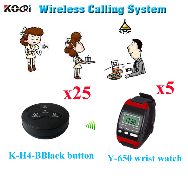 Server Paging System Wireless Restaurant Buzzer Pager Calling Waitress ( 5pcs wrist watch+ 25pcs call button)(China (Mainland))