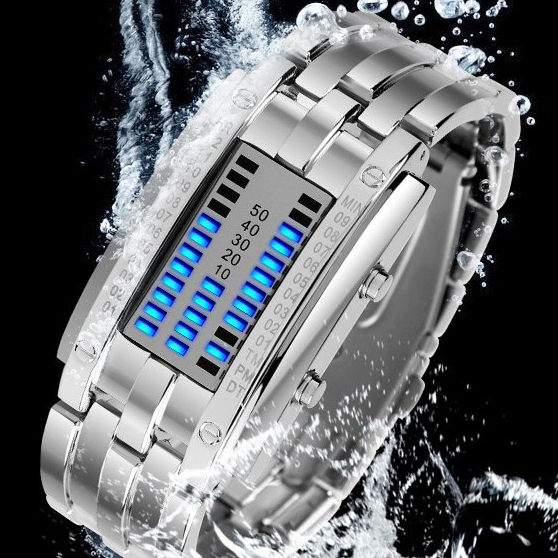 Deluxe Luxury Waterproof LED Electronic Men Women Stainless Steel Wristwatches Blue Binary led Displayer Luminous Sports