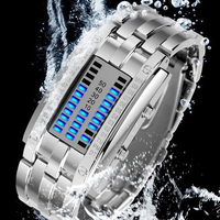 Deluxe Luxury Waterproof LED Electronic Men Women Stainless Steel Wristwatches Blue Binary led Displayer Luminous Sports Watches