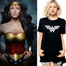 US Anime Superhero Wonder Woman Logo Print Women Vogue T-shirt Girl Combed Cotton Black White Grey Printed Female Girls Clothes