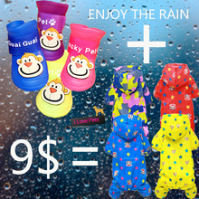 New Raincoat + Shoes one Set For Pet Dog Spring Summer Clothes Small Medium XS -XL Dog Clothes Coat Pet Product Waterproof(China (Mainland))