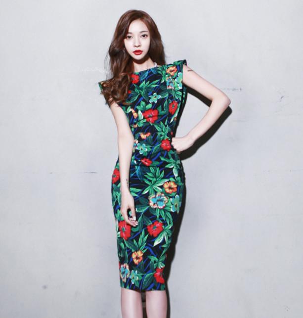 NEW Printed bodycon dress Cutout back floral midi dress Green Backless pencil dress sexy party dresses women 2015 dames jurken(China (Mainland))