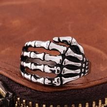 Cool Alloy Silver Men's Punk Skull Head Finger Rings Jewelry  Men's Fashion Rocker Wearing 2015 Hot(China (Mainland))