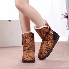Gran Tamaño de Invierno 41 Las Mujeres Del Cuero Genuino Botas Para la Nieve de Las Señoras planos Del Talón Botines Botas de Nieve Estampado de Leopardo de Ocio Caliente zapatos(China (Mainland))