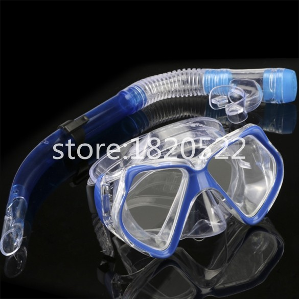 New Dark Blue Scuba Diving Equipment Dive Mask Dry Snorkel Set Scuba Snorkeling Gear Kit(China (Mainland))