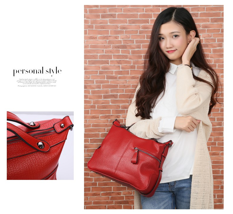Japan And Korean Style Pillow-shaped Casual Hand Bag Ladies Black Red PU Shoulder Bag Luxury Gorgeous Women Leisure Handbag