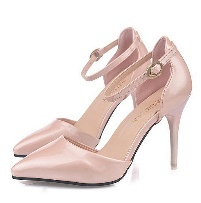 Women Pumps Pointy Toe Ankle Strap Womens High Heels white shoes Cocktail Party shoes Summer wedding