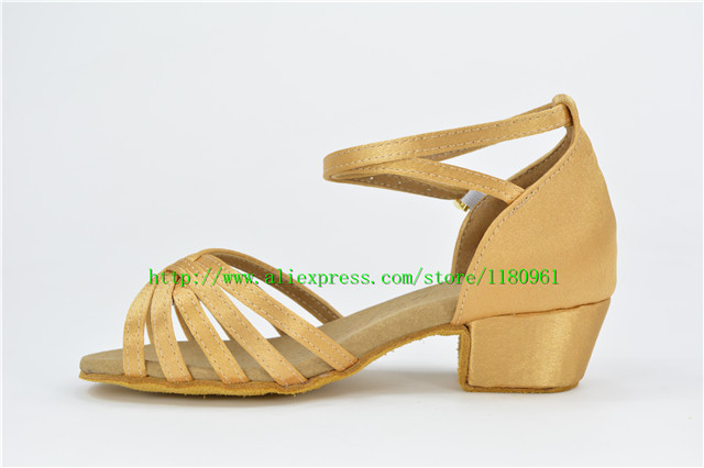 Juvenile female Latin shoes factory direct color satin with 3.5 square dance shoes Latin dance shoes shoes L29