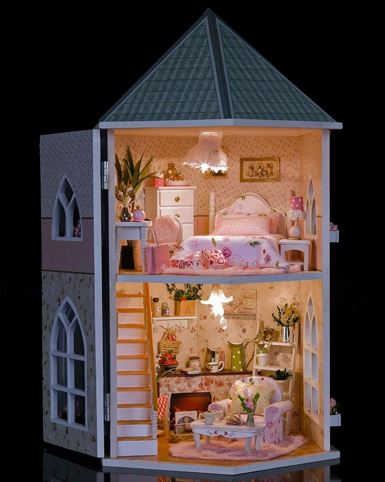 DIY Doll Homes Wood Doll Home Unisex dollhouse Children Toy Furnishings Miniature Barbie Dollhouse Crafts Equipment Toy