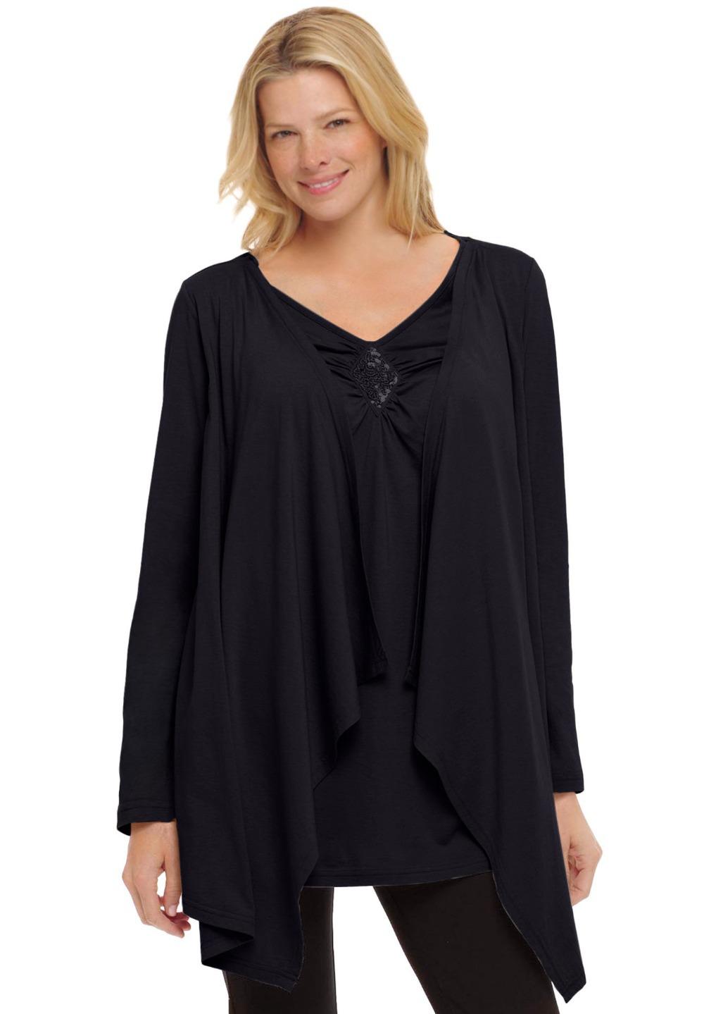 L 8xl Casual Layered Sequin Top Tee T Shirt Tunic Plus Big