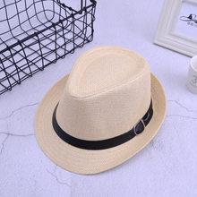 2018 britannique Parent-enfant Jazz casquettes chapeaux tendance hommes femmes enfants Fedora paille chapeaux avec boucle en plein air garçons filles plage soleil chapeau(China)