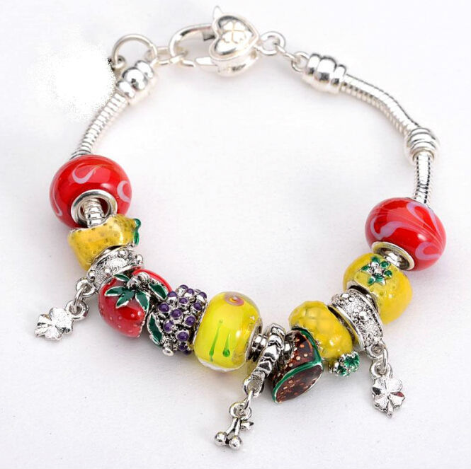 Wholesale european murano glass beads 925sterling solid silver charm