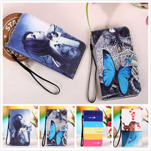 For Lenovo K3 Lemon K30W Phone Case With Card Slots,Cartoon Painting Cover PU Flip Stand Wallet Leather Cover+Lanyard gift