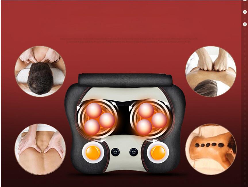 Neck and Back Massager Pillow Car Chair Massager Deep Tissue Kneading Heated Massage Balls Foot Massager Cushion(China (Mainland))