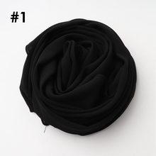 Цельный высококачественный Женский мусульманский однотонный шифоновый хиджаб длинный шарф из жоржета шали исламские головные уборы шарфы(China)