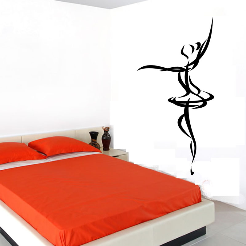 Cheapest Ballet Dancer Outline Wall Sticker Simple Design Vinyl Removable Home Decor Decals