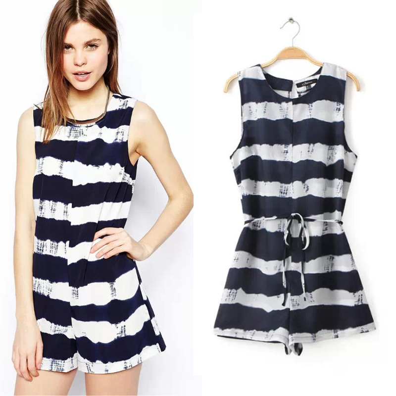 015 summer styles striped printed sleeveless jumpsuit women's shorts playsuit - Chic Classic Store store