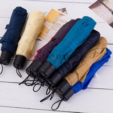 Portable Mini Anti-uv Folding Compact Rain Sun Umbrella 8K tri-folded umbrella