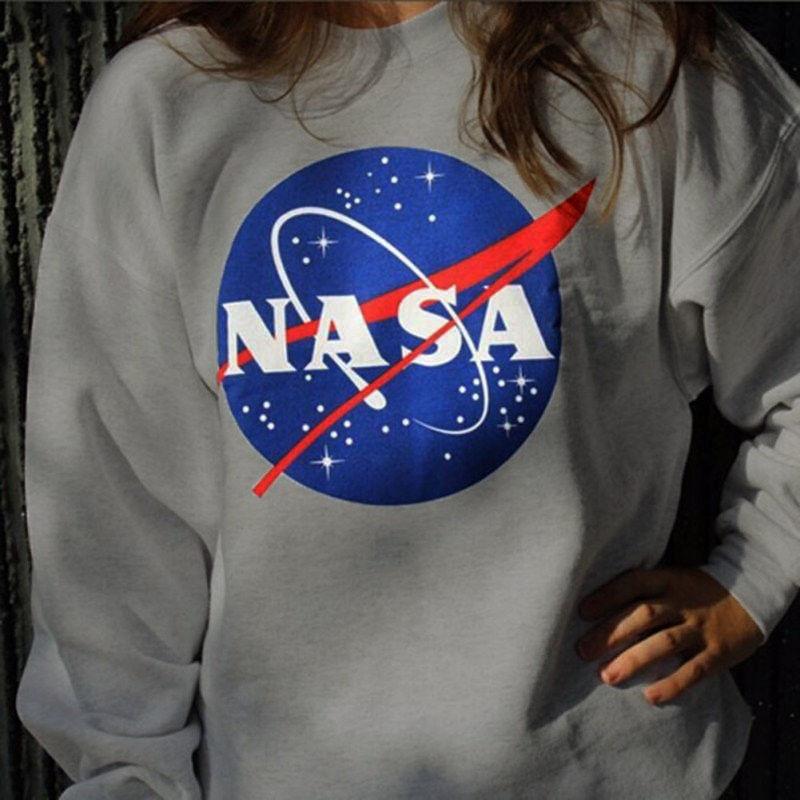 NASA Hoody Sweatshirts Hoodies Casual Sweatshirts Long Sleeve Crew Neck Tops S-XL