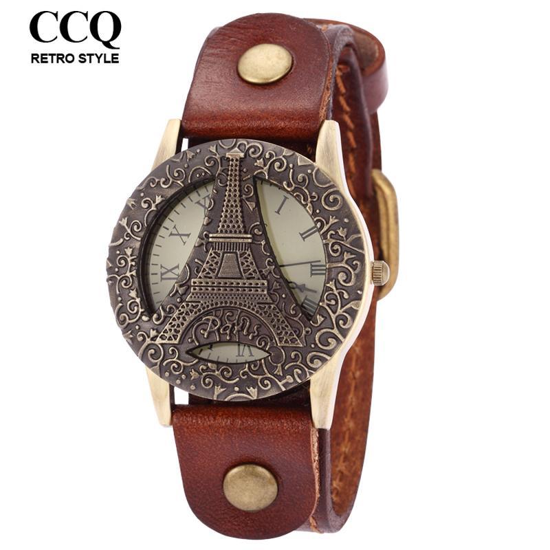 CCQ Unisex Eiffel Tower Watch Cow Leather Quartz Watch Vintage Casual Wrist Watches(China (Mainland))