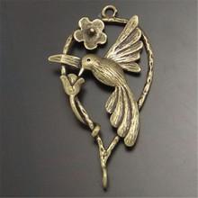 10 Stücke Vintage Style Bronze Look Blume Vogel fliegen Anhänger Charme 35*20mm (02257)(China (Mainland))